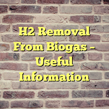H2 Removal From Biogas – Useful Information